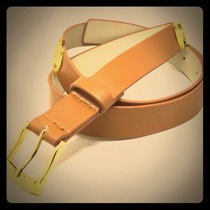 Tahari camel tone belt & gold color accents sz 12